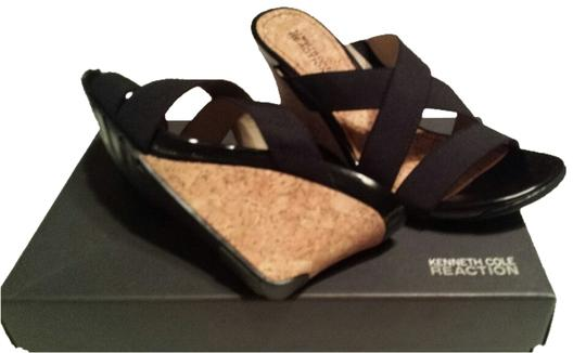 Kenneth Cole Reaction Black/cork Wedges