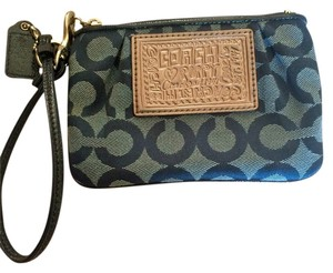 Coach Perfect Condition Wristlet in Blue and White