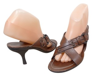 Cole Haan Leather Strappy Heels Sandal brown Sandals