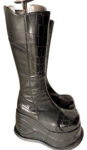 Demonia Goth Platform Leather Black Boots