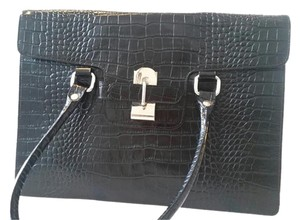 J. Peterman Alligator Patent Leather Satchel in black