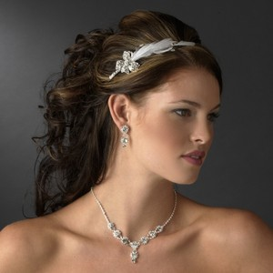 Elegance By Carbonneau Rhinestone Headband With Feather Side Accent