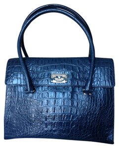 Kate Spade Work Office Leather Satchel in Navy Blue