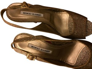 Manolo Blahnik Gold glitter Formal