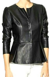 Tinley Road Faux Leather Peplum black Leather Jacket