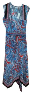 New York & Company short dress Red and Blue Handkerchief Hem Cowl Neck Paisley Plus-size Mid Length on Tradesy