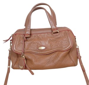 Tahari Leather Satchel in cognac