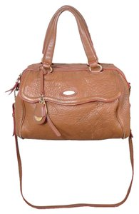 Tahari Leather Crossbody Satchel in cognac