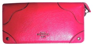 Coach Wallet Pink Card Case Leather Cranberry Pink Clutch
