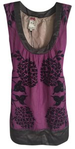 Yoana Baraschi Art Deco Beaded Textured Top Purple, Grey