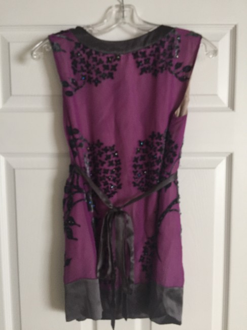 Yoana Baraschi Art Deco Beaded Textured Top Purple, Grey Image 1