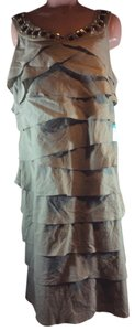 S.L. Fashions Sleeveless Ruffles Beaded Tiered S Dress