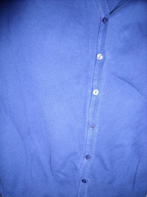 Zara Indigo High Quality Fabric Very Warm Unusual Color Opalescent Buttons  V-neck Cardigan Size 14 (L)
