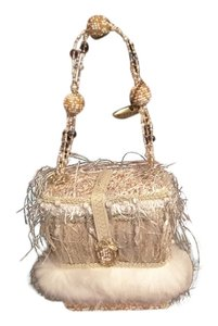 Mary Frances Vintage Beaded Silk Evening Cream and White Clutch