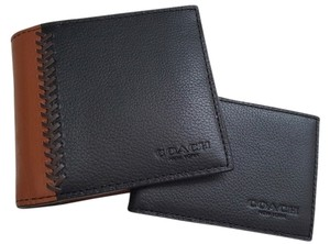 Coach NEW COACH men colorblock baseball stitch leather wallet ID case holder