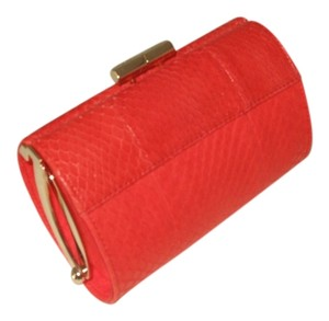 Jimmy Choo Snakeskin Embossed Leather Mini Tube orange Clutch