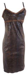 Betsey Johnson Feathers Animal Sheath Dress