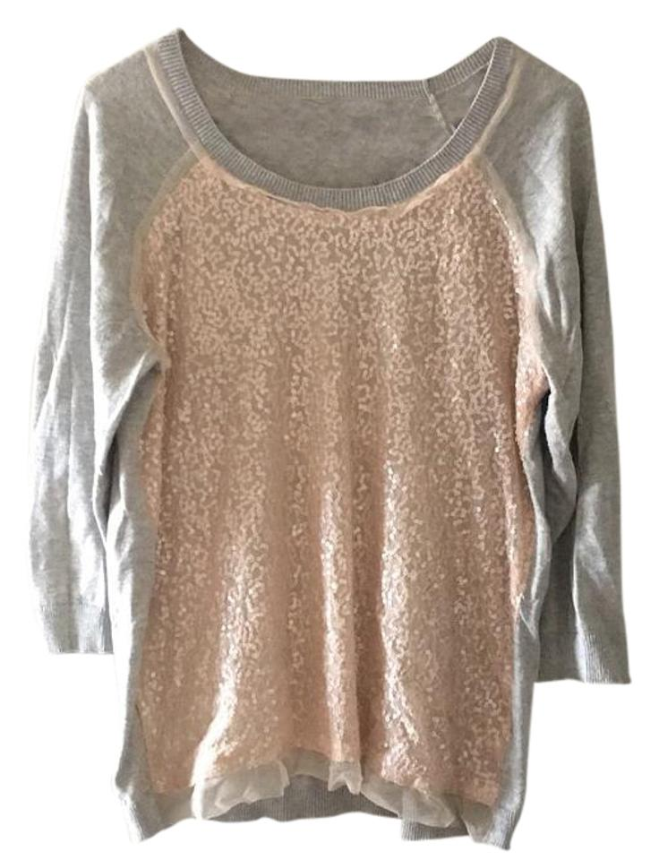 603896dec1 Forever 21 Sequin Baseball Tee Gray and Pink Sweater - Tradesy