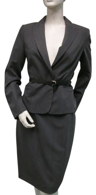 Item - Gray 2-piece Black Striped Belted New Skirt Suit Size 12 (L)