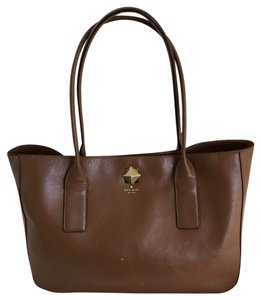 Kate Spade Work Gold Hardware Leather Caramel Tote in Brown Caramel