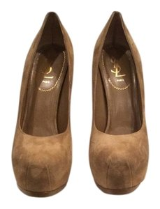 Saint Laurent Ysl Tribute Two Beige Suede Pumps