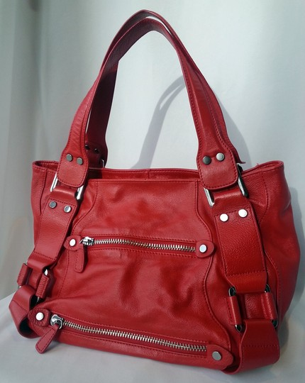 Bel Baccio Zippers Buckles Silver Tone Hardware Large Slouchy Leather Shoulder Bag