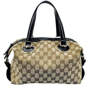Gucci Canvas Gg Monogram Satchel in Tan and Black