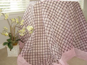 Pink And Brown Table Cloth