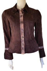 Worth Suede Snakeskin Leather Brown Leather Jacket