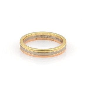 Cartier Cartier 18k Tri-color Gold 3.5mm Triple Stack Band Ring Eu 52-us