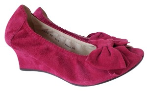 MILLY Peep Toe Bow Suede Pink Wedges