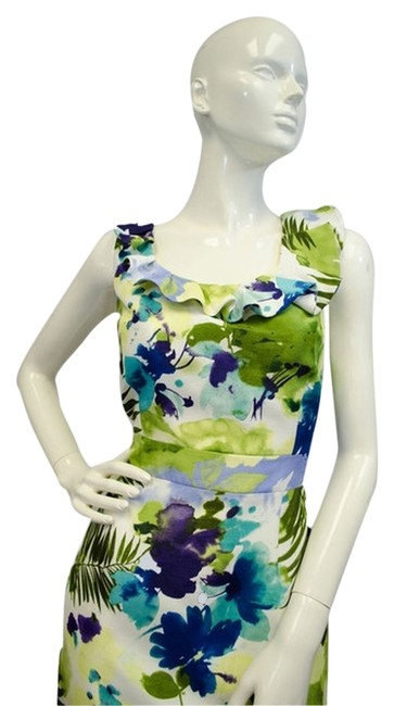 Preload https://img-static.tradesy.com/item/14085538/isabella-demarco-white-blue-green-floral-short-casual-dress-size-10-m-0-4-650-650.jpg
