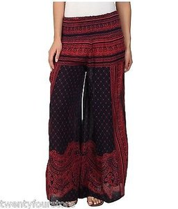 Free People People Printed Sahara Wide Leg Maxi Gauze In Navy Combo Pants