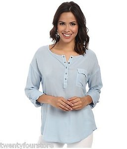 Splendid Rayon Voile Henley Shirt W Roll Up Sleeves In Mist Top Blue