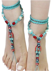 PrivateBelle Turquoise Red Boho Fringe Beaded Tribal Barefoot Sandals Foot Ankle Jewelry