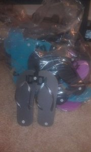 Blue Pink Gold Black Gray Flip Flops For Reception
