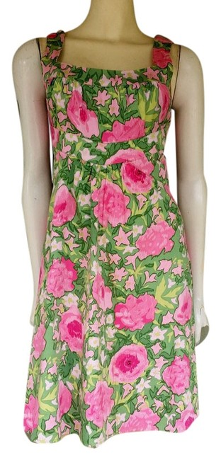 London Times short dress Green/Pink Stretch Floral Sundress on Tradesy