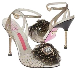 Betsey Johnson Glitter Stone Gold Sparkle Formal