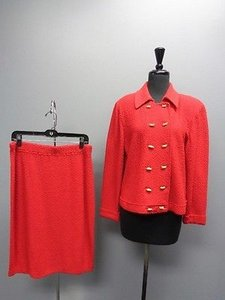 St. John St John Collection By Marie Gray Red Stretchy Skirt Suit Sm11877