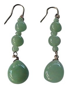 Unknown 10k Solid Yellow Gold JADE Dangling Earrings