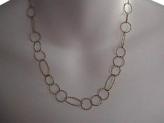 Vintage Italy Sterling Silver Hammered Oval Link Ladies Necklace