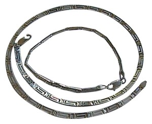 Vintage Sterling Silver Greek Designed Necklace Bracelet Set