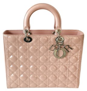 Dior Patent Leather Cannage Satchel in Pale pink