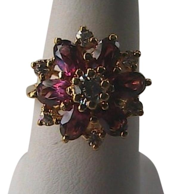 Vintage Sterling Silver Vermeil Cz Stone Gold 925 1.30 Carats White & Purple Ring Vintage Sterling Silver Vermeil Cz Stone Gold 925 1.30 Carats White & Purple Ring Image 1