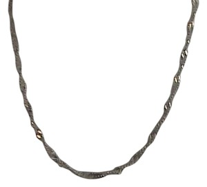 Vintage Italy Sterling Silver Diamond Cut Twisted Chain