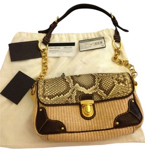 Prada Classic 2010 Python Straw Shoulder Bag