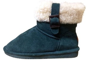 Bearpaw Suede Leather Sheerling Sheepskin Fur Ankle Flat Comfy Comfort Comfortable Warm Cold Weather Snow Rain Cozy Women Cute Moss Green Boots