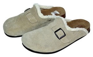 Beaver Creek Suede Lined Warm Slip On Beige Mules