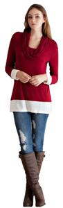 entro Color Block Sweater Top Red White