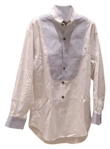 Stubbs Collection Button Down Shirt White and Blue
